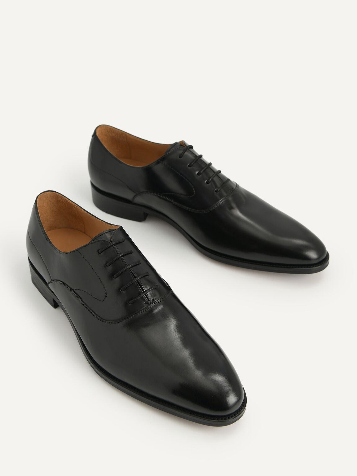 Leather Pointed Round Toe Oxfords, Black, hi-res