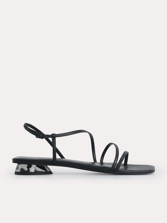 Wraparound Strappy Flats, Black, hi-res