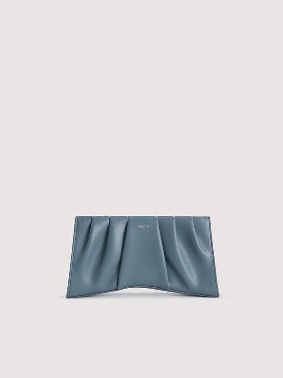 Ruched Shoulder Bag, Blue, hi-res