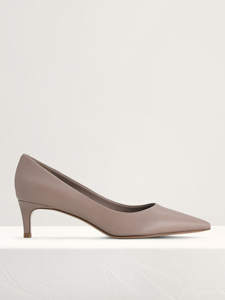 Leather Pointed Pumps, Taupe, hi-res