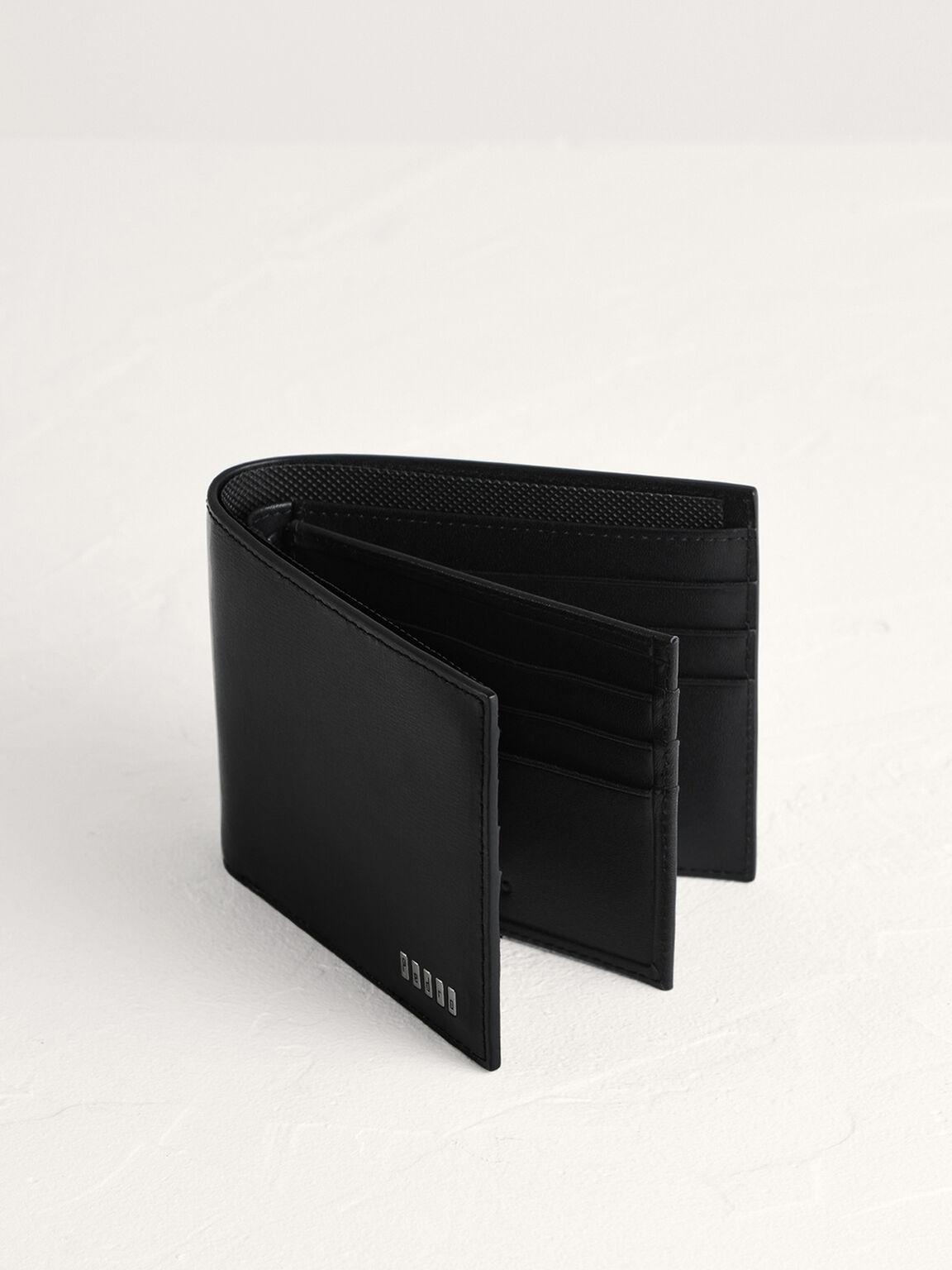 Leather Bi-Fold with Flip, Black, hi-res