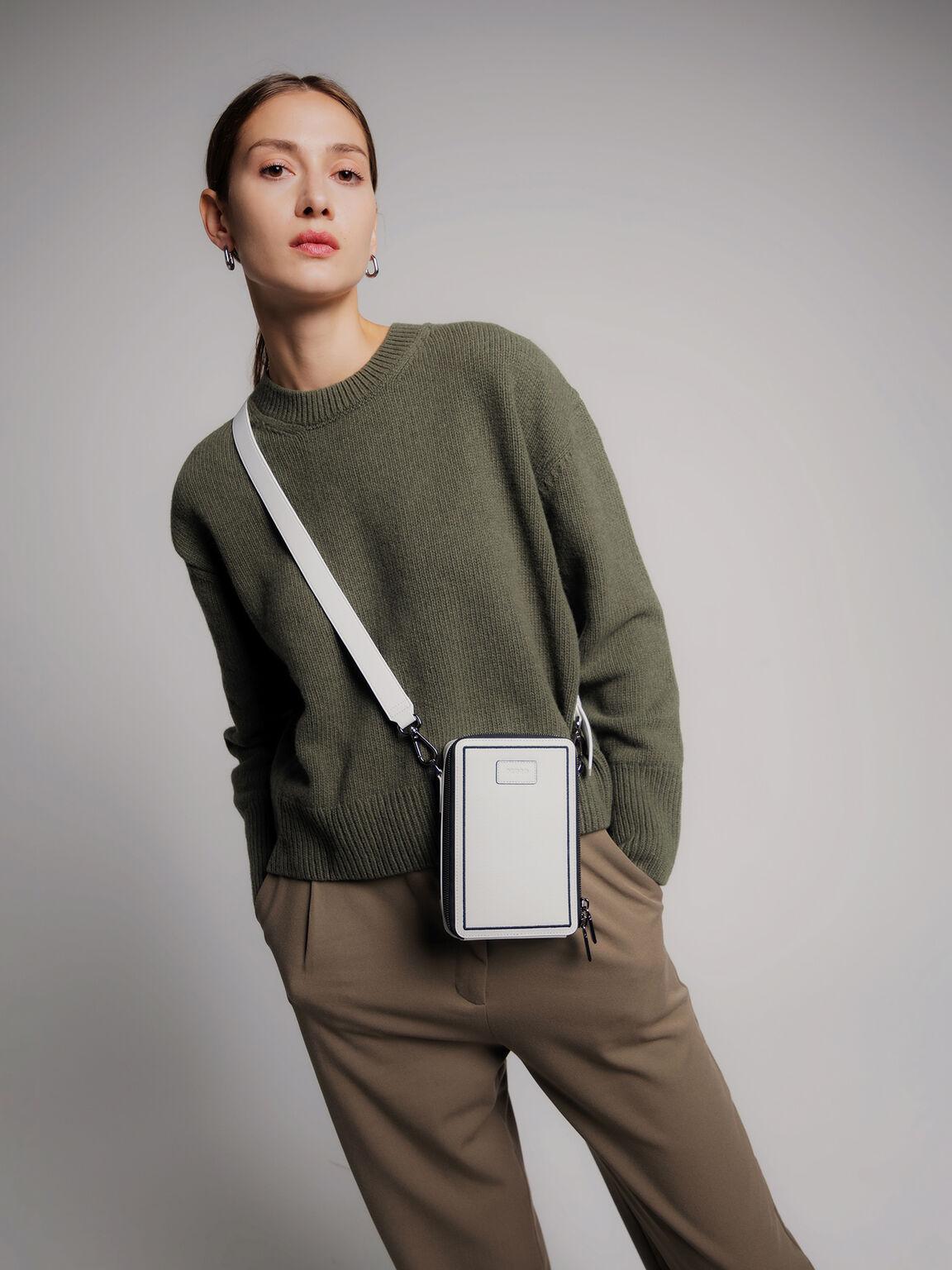 織紋皮革手機包, 白色, hi-res