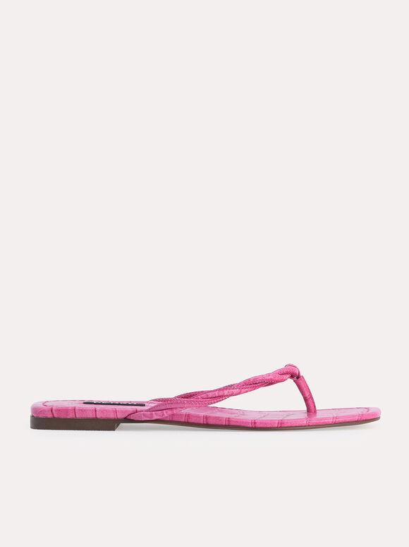 Croc-Effect Thong Sandals, Fuchsia, hi-res