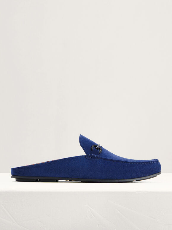Suede Bit Backless Loafers, Blue, hi-res
