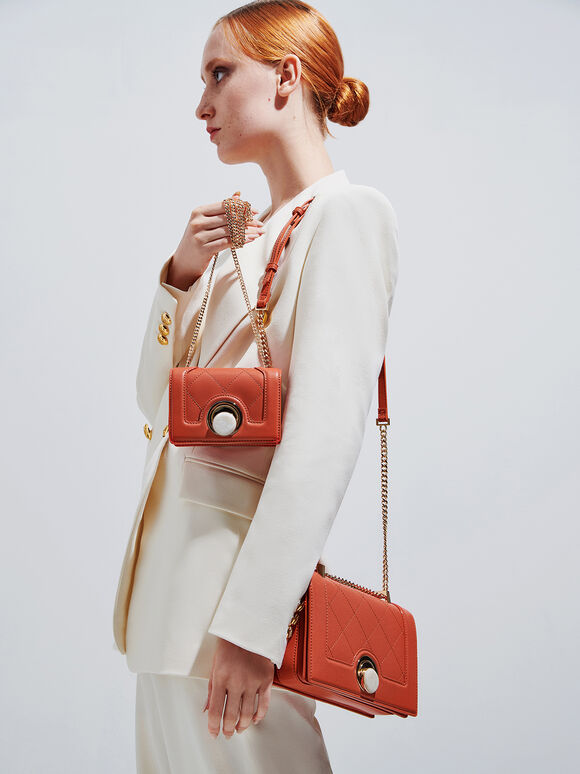 Quilted Shoulder Bag, Orange, hi-res