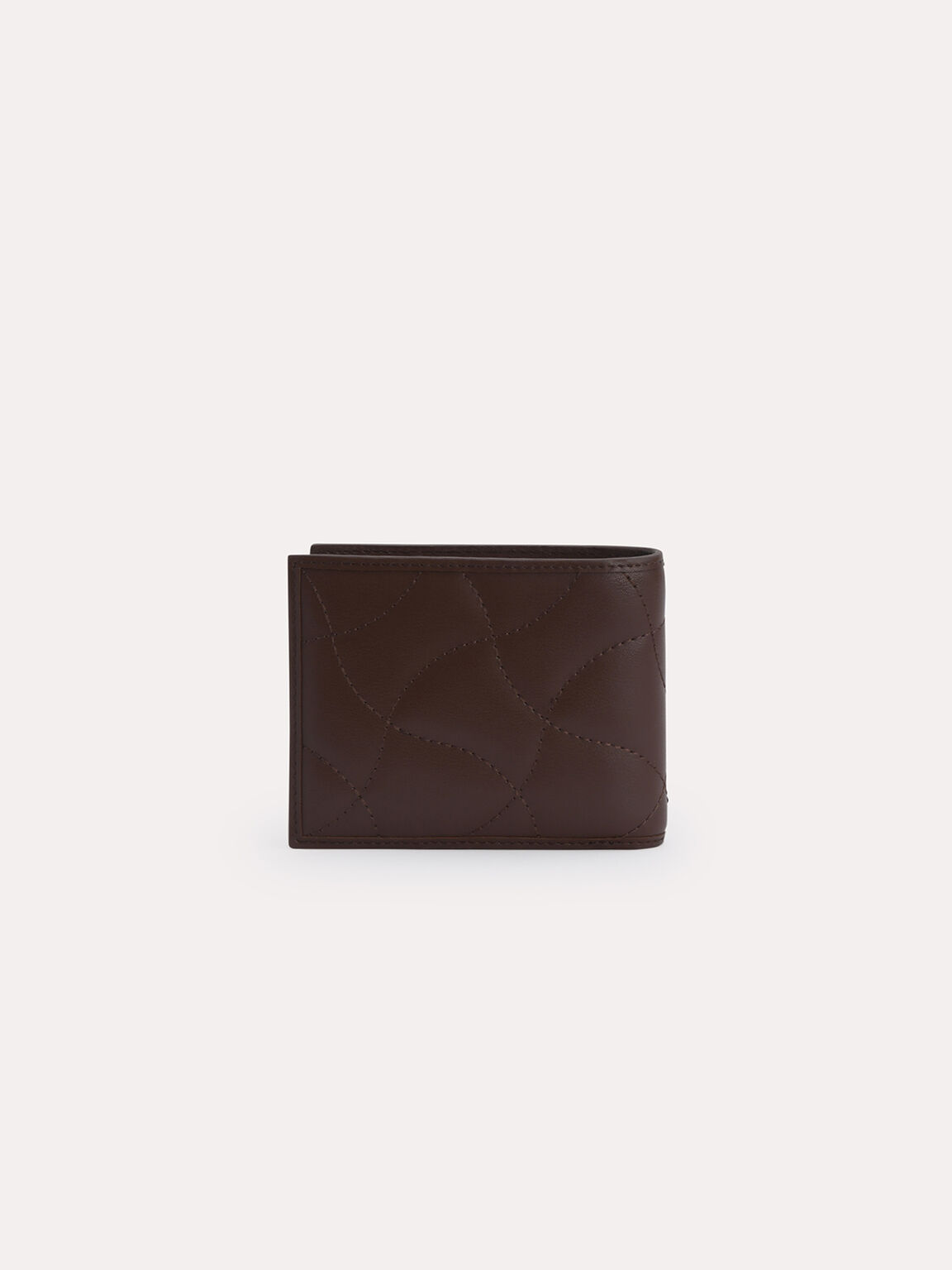 Abstract Quilted Bi-Fold Wallet, Dark Brown, hi-res