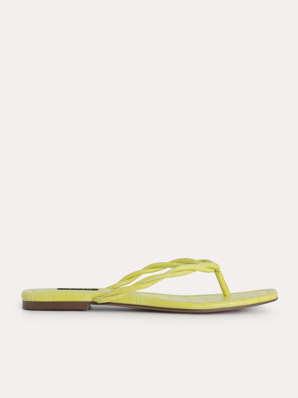 Croc-Effect Thong Sandals, Yellow, hi-res