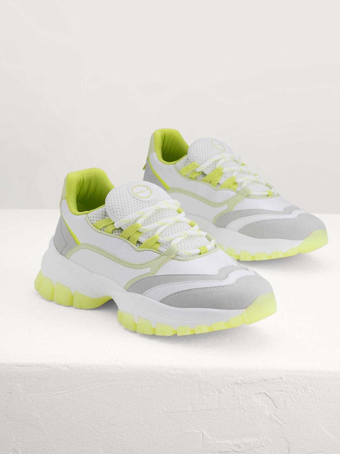 Mesh Chunky Sneakers, White, hi-res