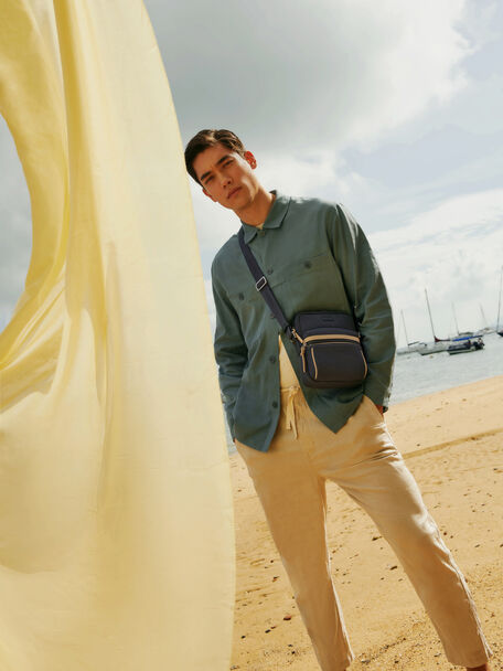 rePEDRO Organic Cotton Casual Sling Bag, Navy, hi-res
