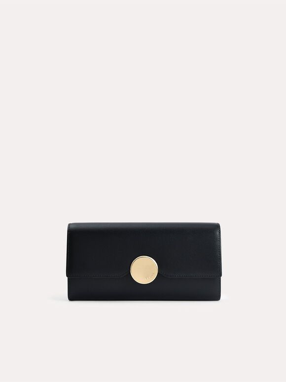 Long Leather Bi-Fold Wallet, Black, hi-res