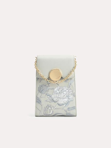 Floral Bouquet Leather Phone Pouch, Light Grey, hi-res
