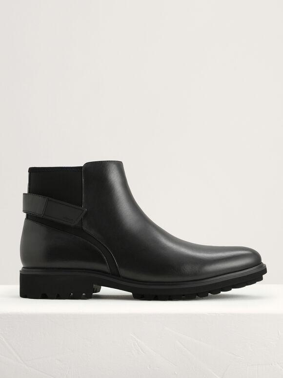 Calf Suede Ankle Boots, Black, hi-res