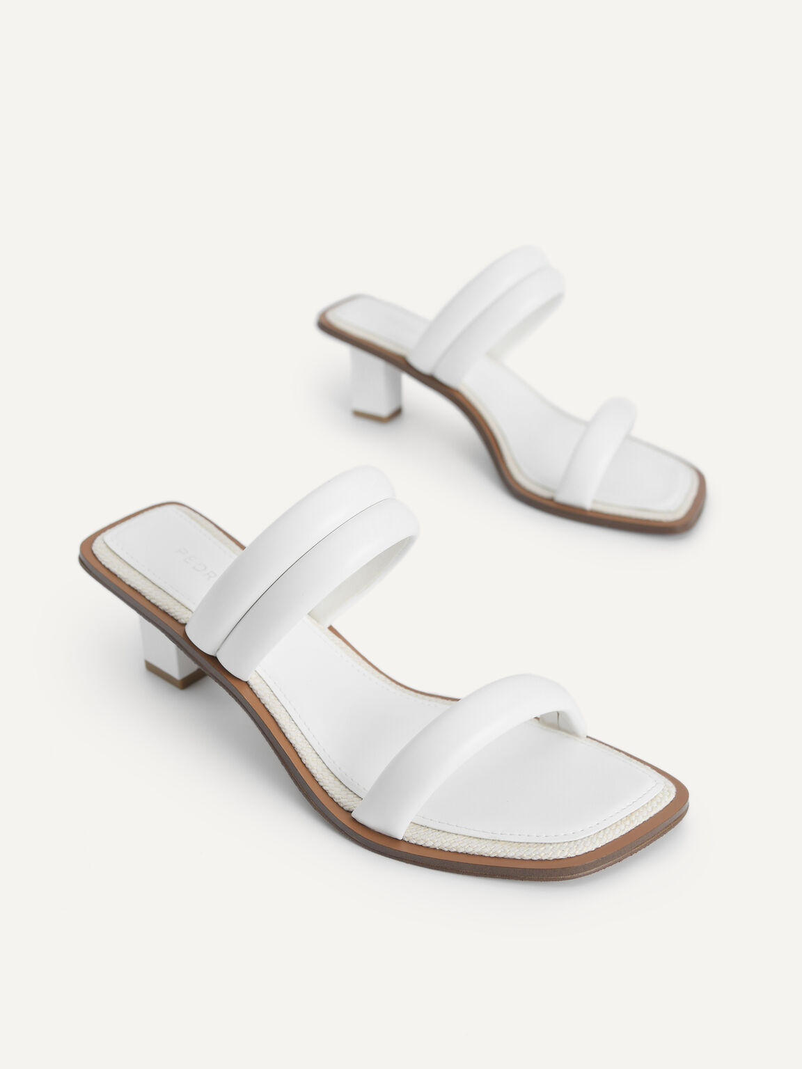 Double Strap Heeled Sandals, White, hi-res