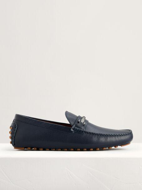 Bit Leather Moccasins, Navy, hi-res