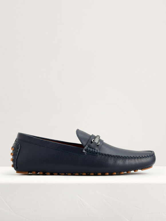 Bit Leather Moccasins, Navy, hi-res