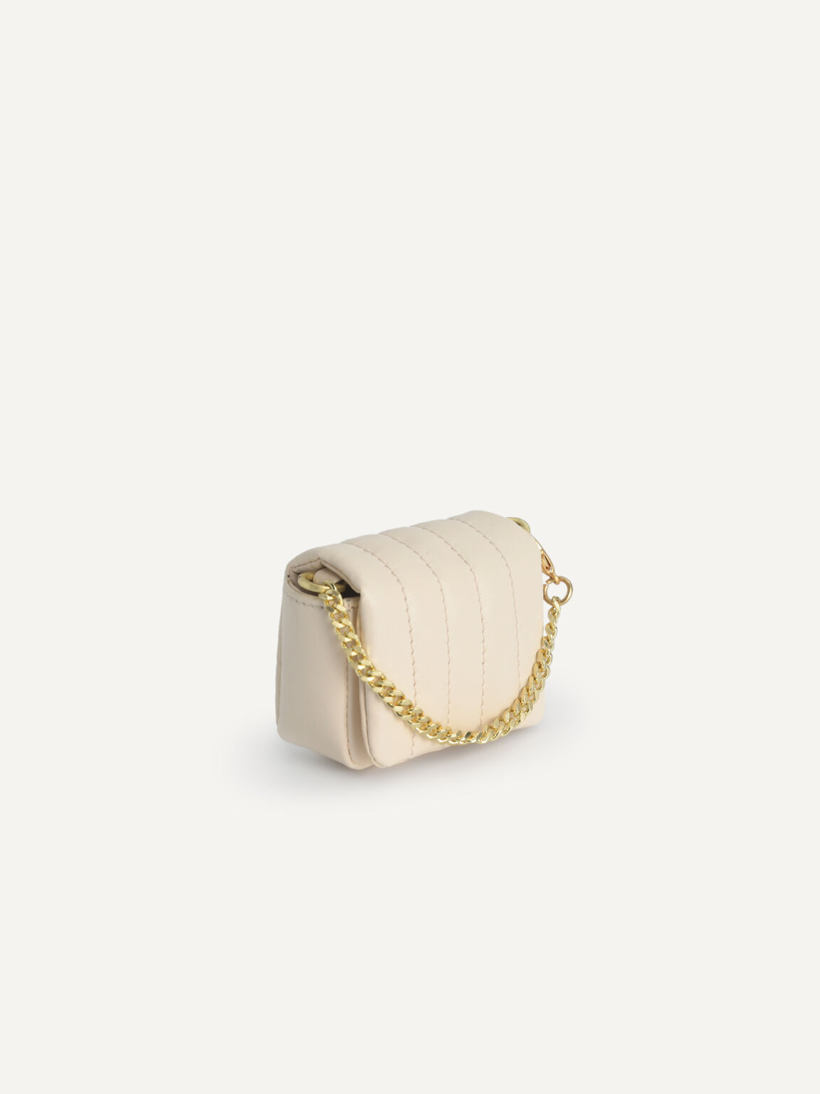 Padded Leather Pouch, Beige, hi-res