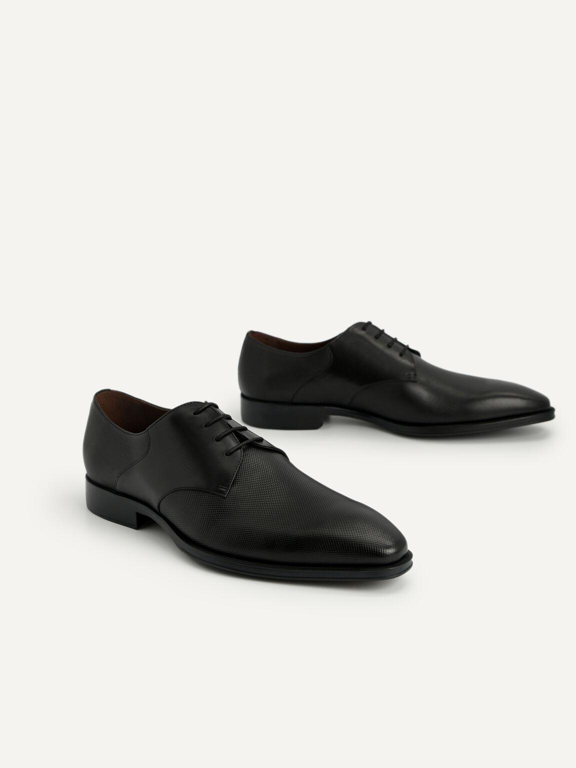 Textured Leather Derby Shoes, Black, hi-res