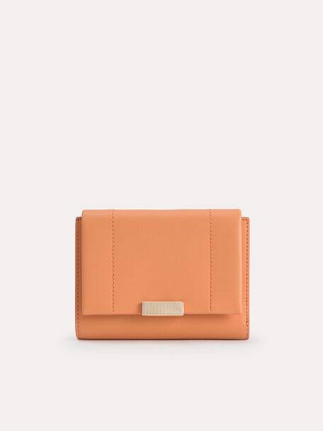 Leather Tri-Fold Wallet, Orange, hi-res