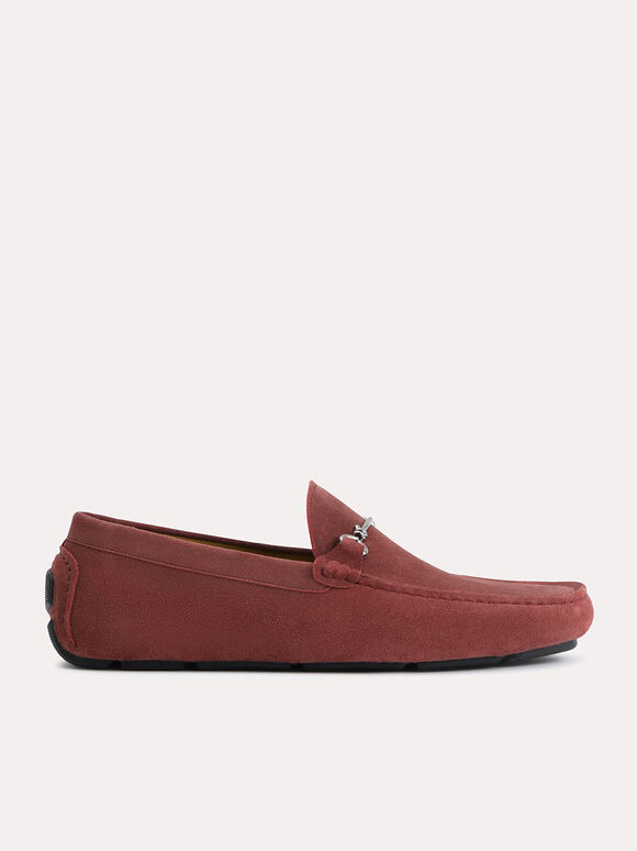 Suede Moccasins with Bit Detailing, Walnut, hi-res
