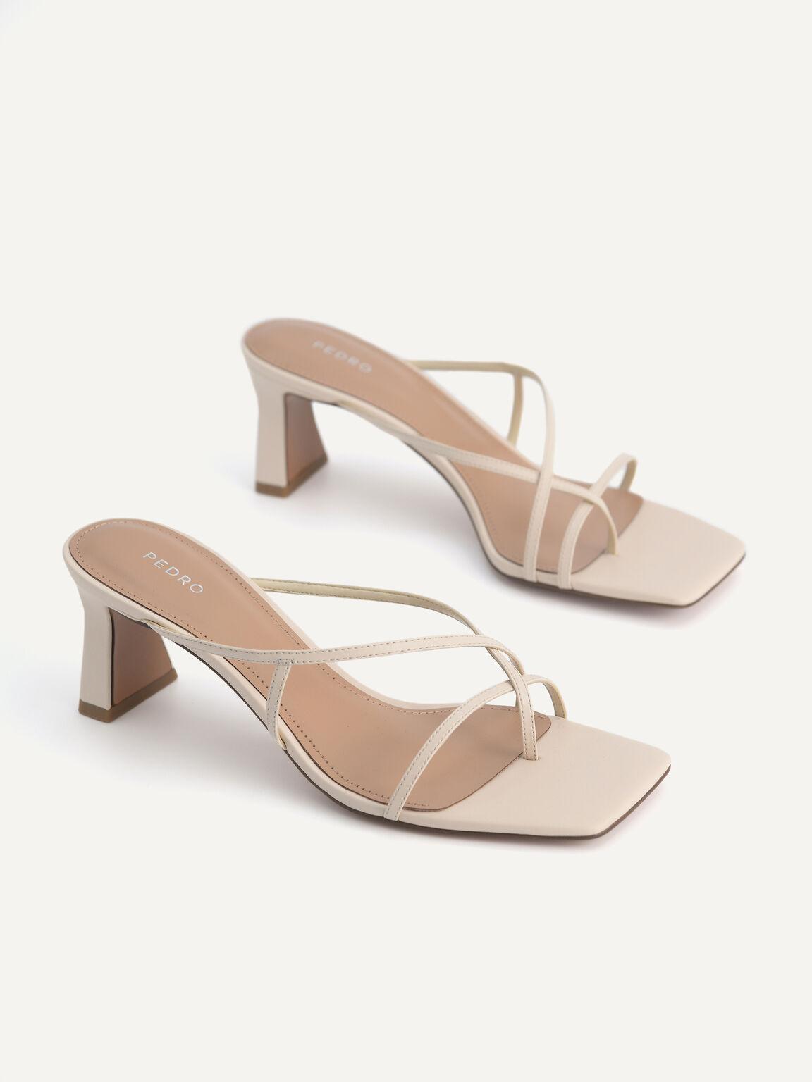 Strappy Toe Loop Heeled Sandals, Beige, hi-res