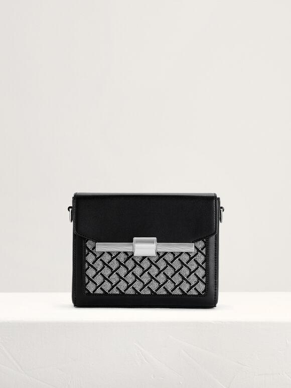 Canvas Camera Shoulder Bag, Black, hi-res