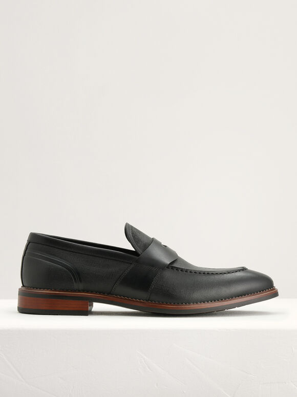 Textured Penny Loafers, Black, hi-res