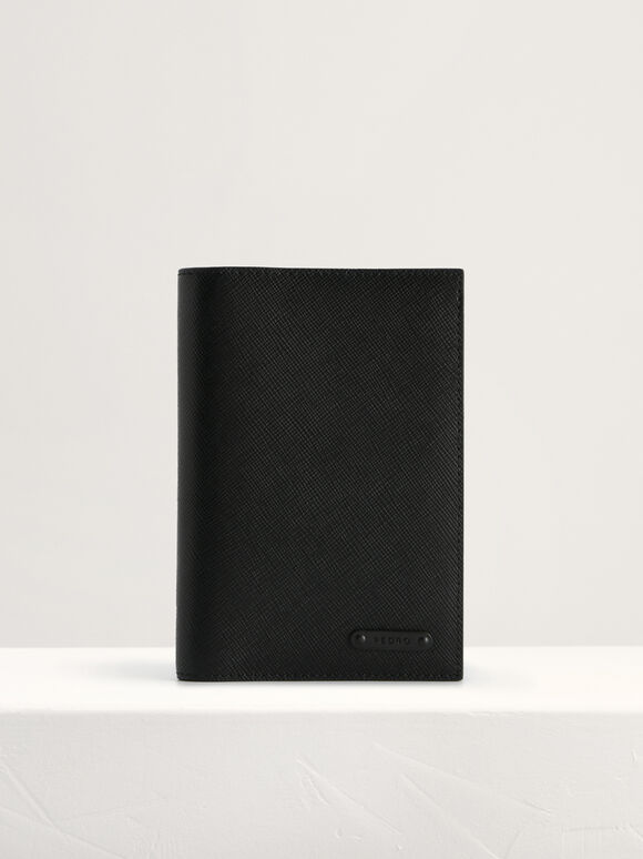 Leather Passport Holder, Black, hi-res