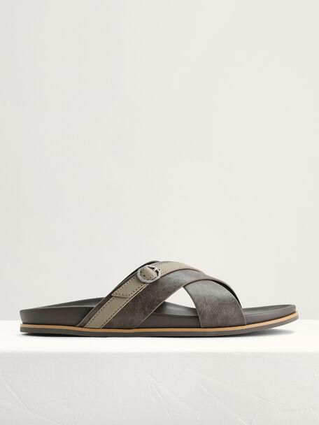 Criss-Cross Sandals with Octagon Hardware, Khaki, hi-res