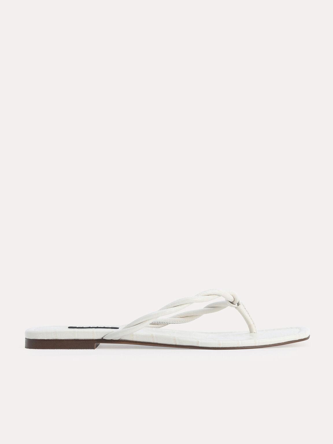 Croc-Effect Thong Sandals, Chalk, hi-res