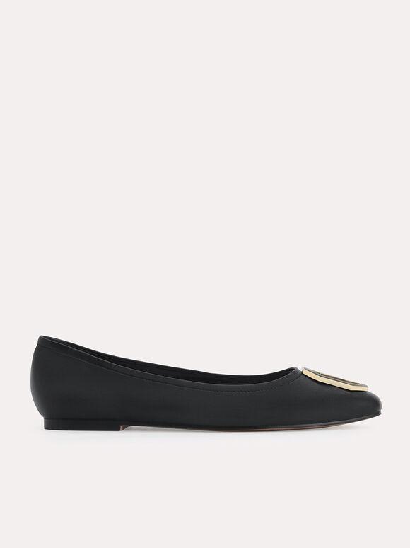 Octagon Buckle Ballerina Leather Flats, Black, hi-res