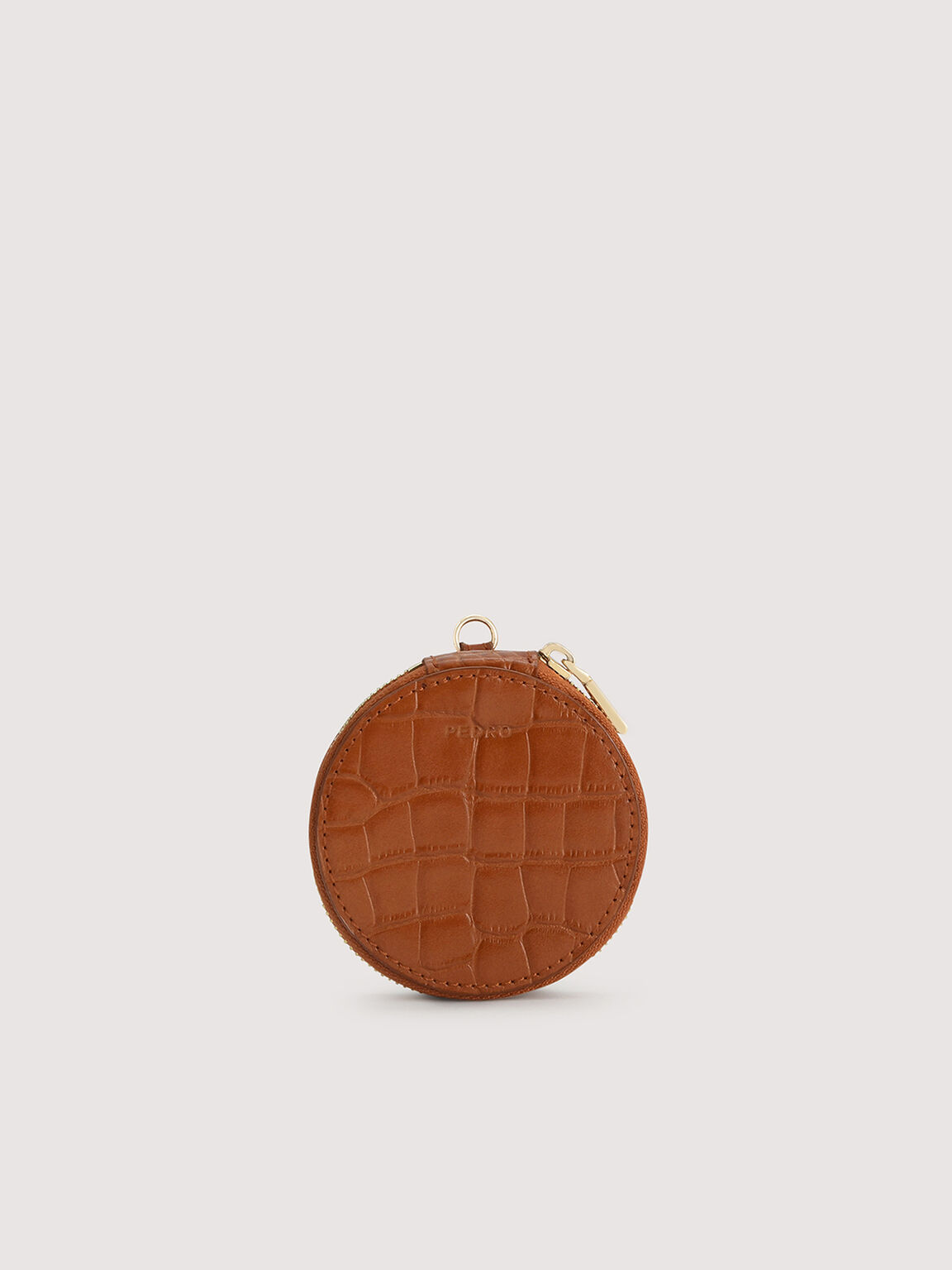 Embossed Leather Cardholder Lanyard with Coinpouch, Cognac, hi-res