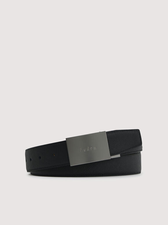 Reversible Tang Leather Belt, Black, hi-res