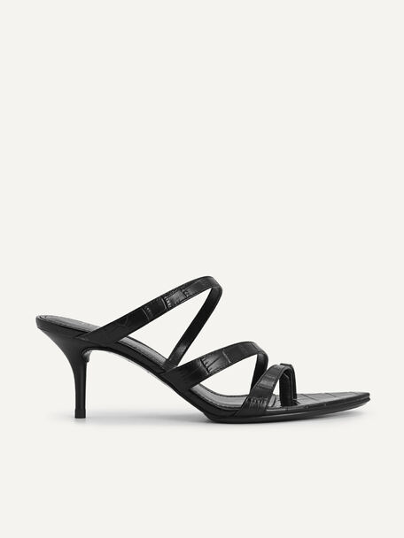 Croc-Effect Leather Heeled Sandals, Black, hi-res