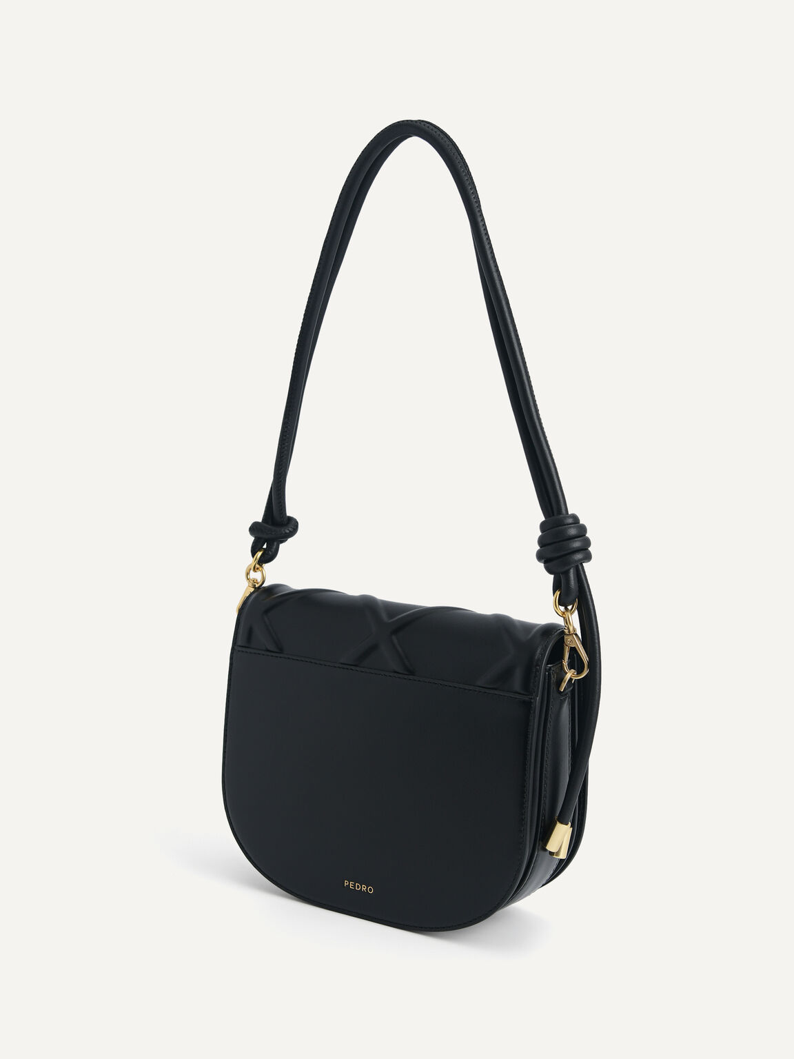 Quilted Shoulder Bag, Black, hi-res
