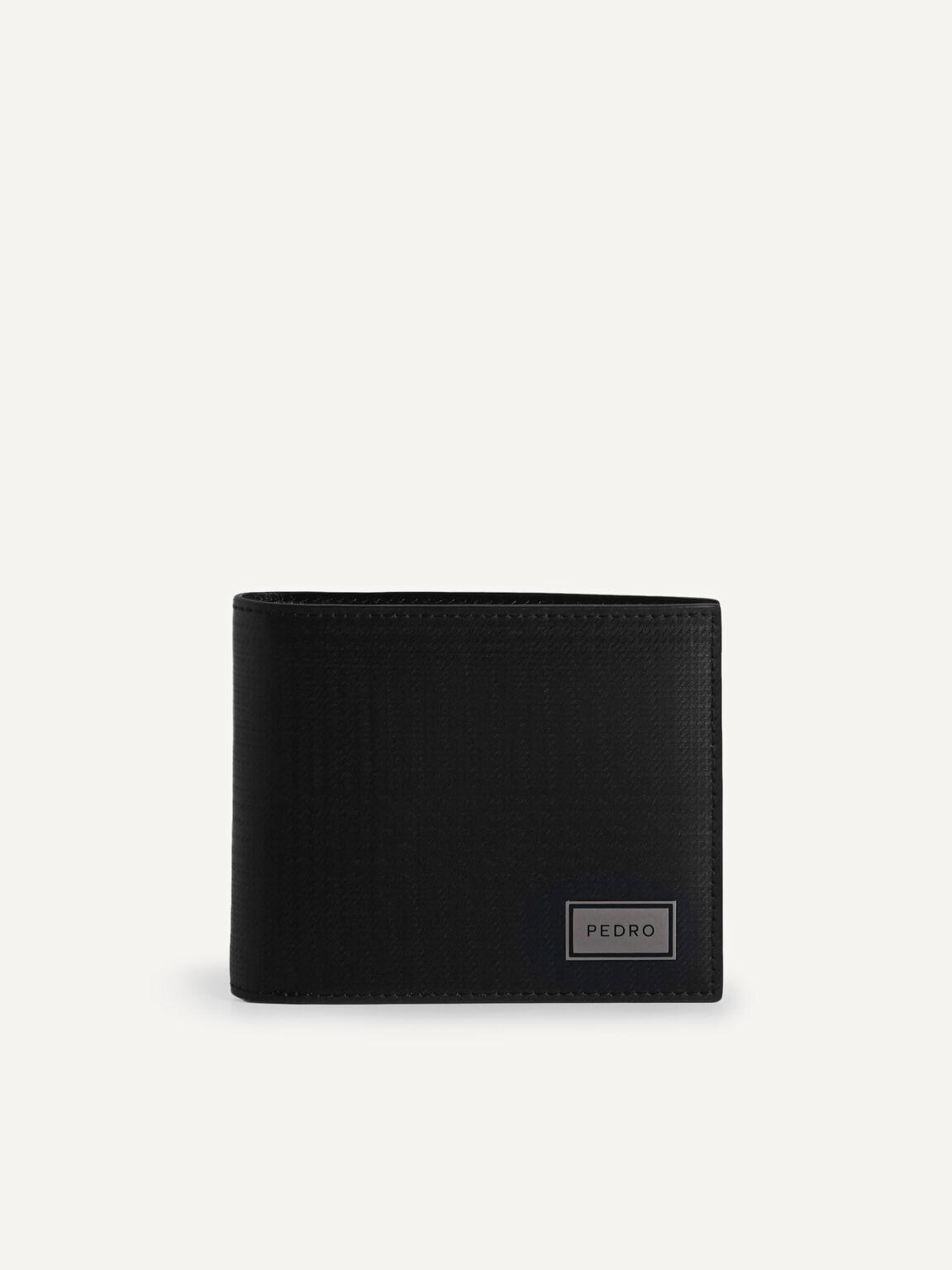 雙折疊皮革錢包帶翻蓋, 黑色, hi-res