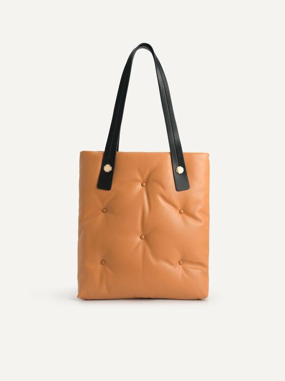 Quilted Top Handle Bag, Camel, hi-res