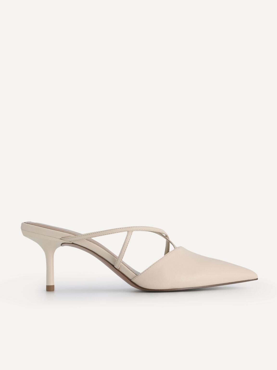 Pointed Toe Leather Heels, Beige, hi-res