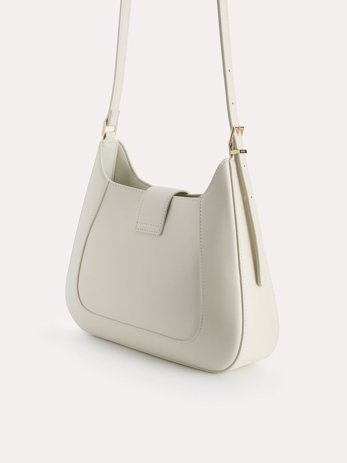 Top Handle Bag with Oval Buckle, Chalk, hi-res