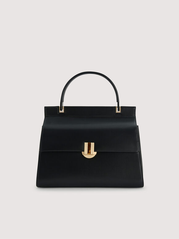 Structured Handbag, Black, hi-res