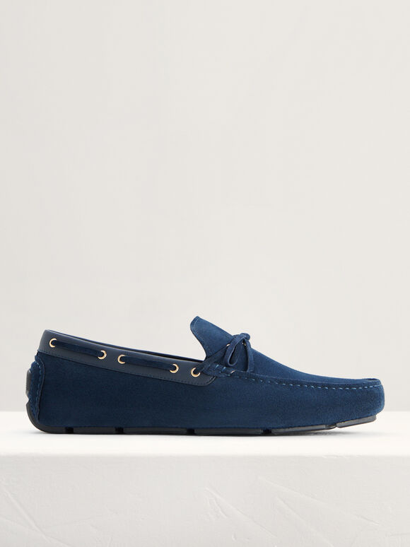 Bow-Detailed Suede Moccasins, Navy, hi-res