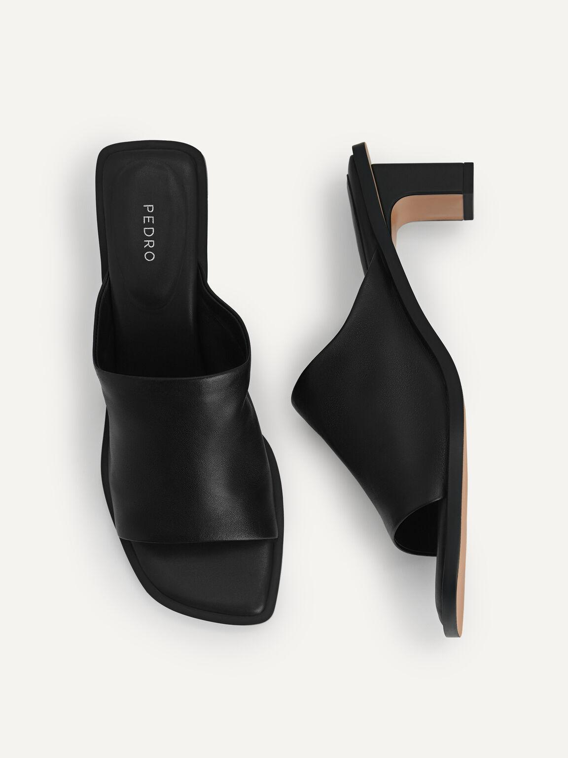 Leather Heeled Mules, Black, hi-res