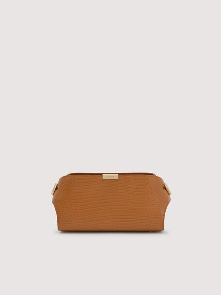 Embossed Leather Clutch, Mustard, hi-res