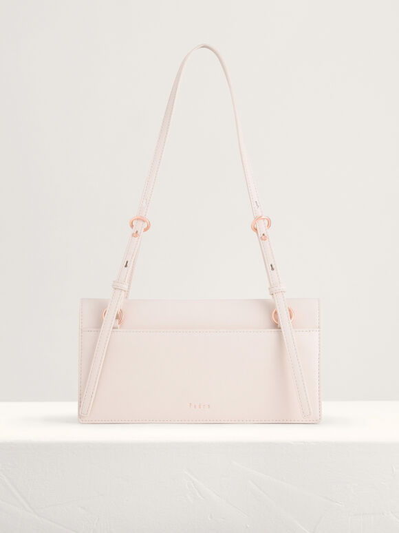 Belt Detailed Shoulder Bag, Cream, hi-res