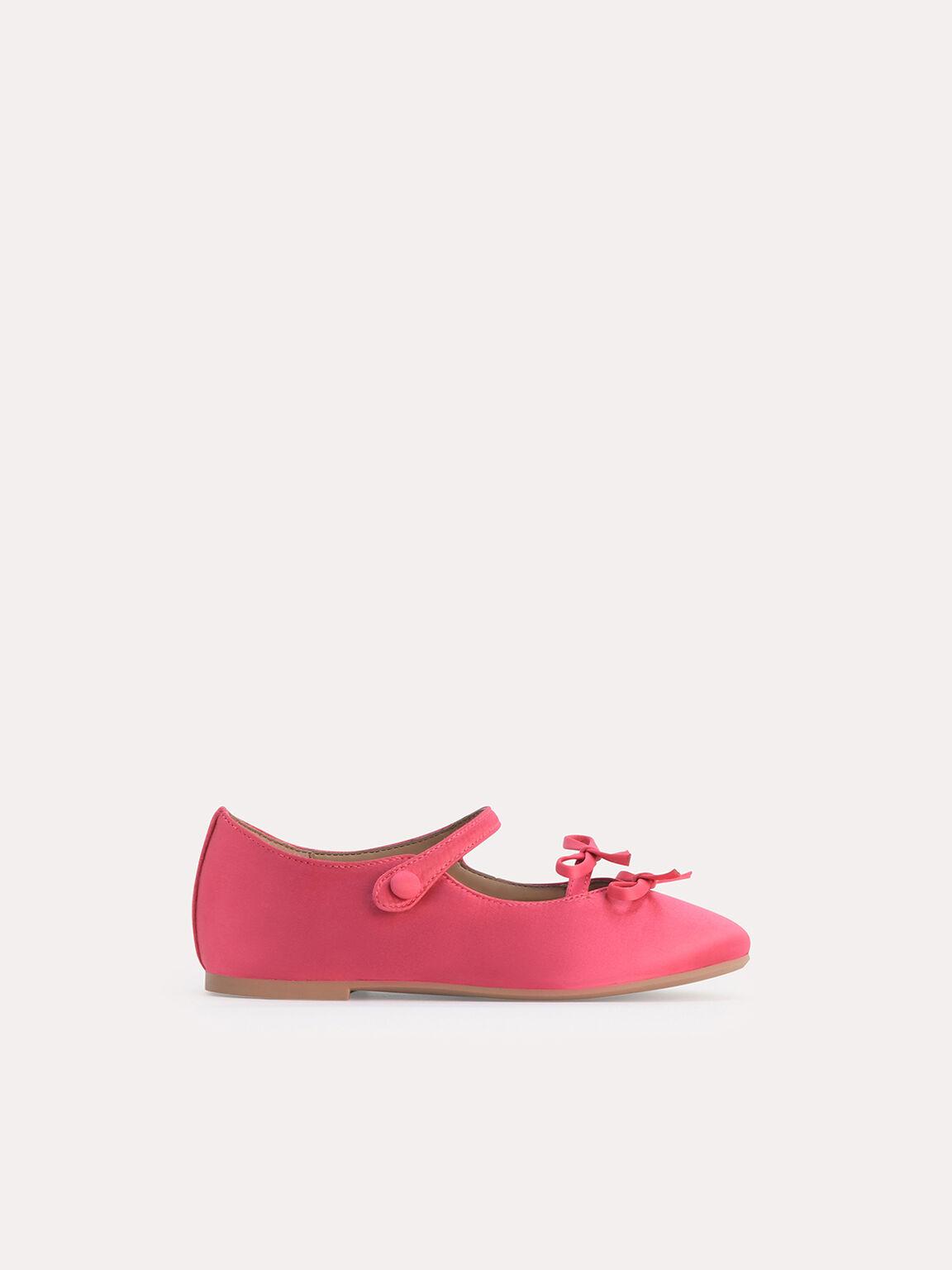 Double Bow Ballerina Flats, Coral Pink, hi-res