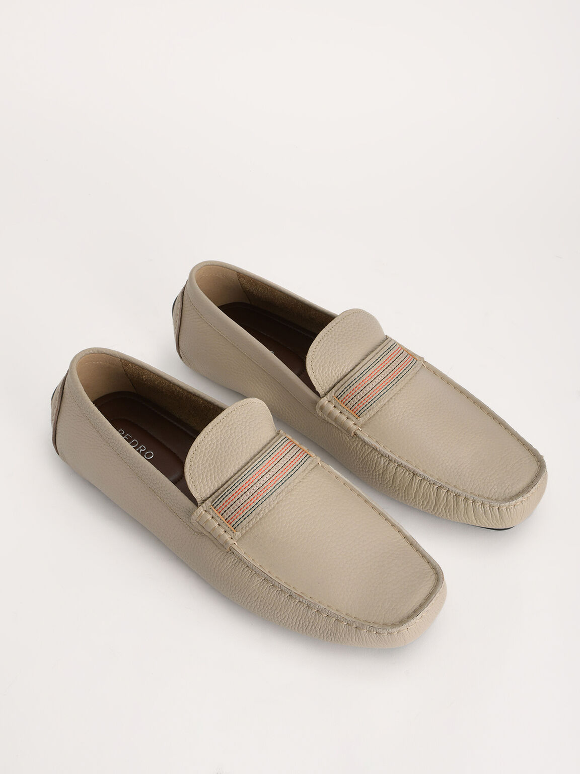 Detailed Leather Moccasin, Taupe, hi-res