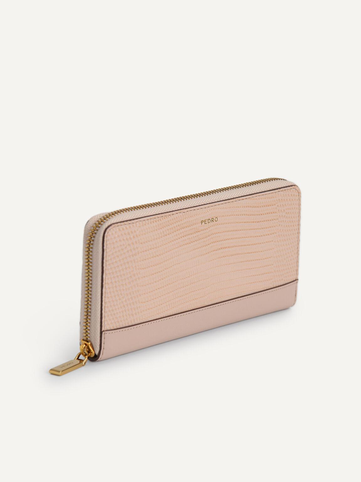 Lizard-Effect Leather Wallet, Nude, hi-res
