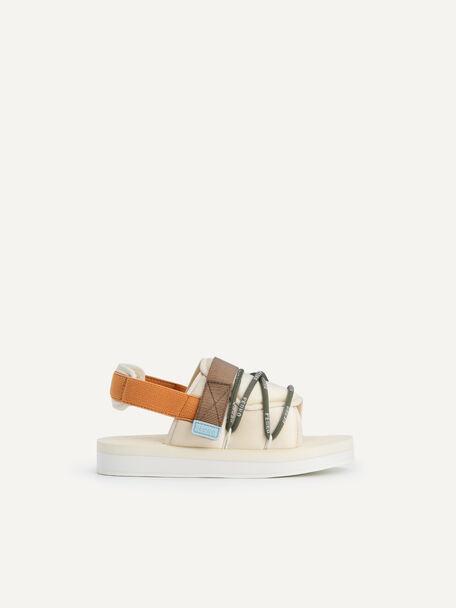 Colourblock Cord Sandals, Beige, hi-res