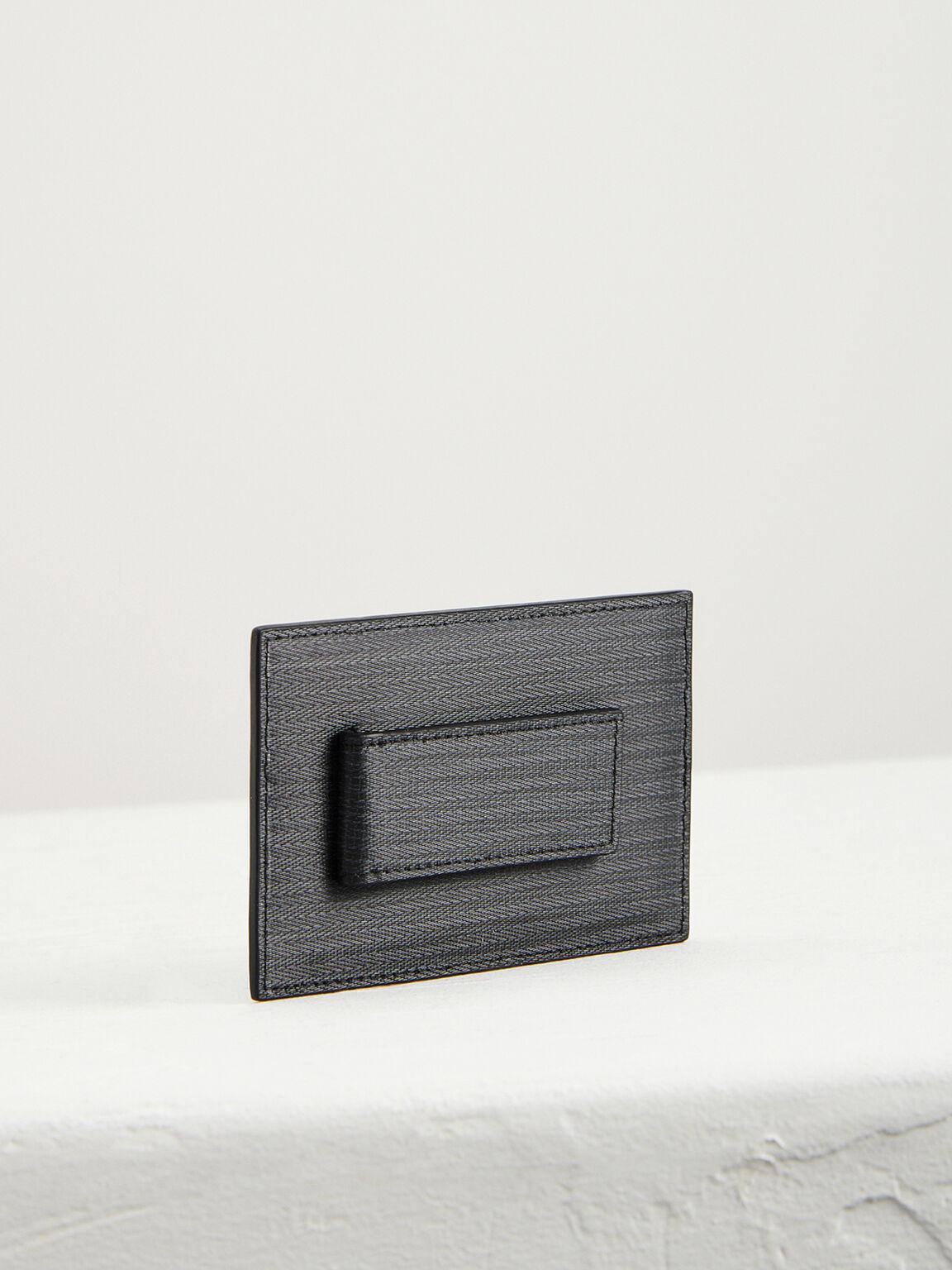 Leather Card Holder with Money Clip, Black, hi-res