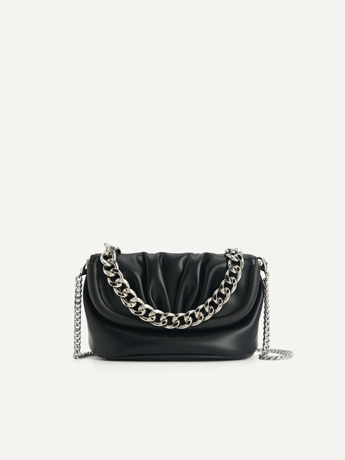 Mini Draped Shoulder Bag, Black, hi-res
