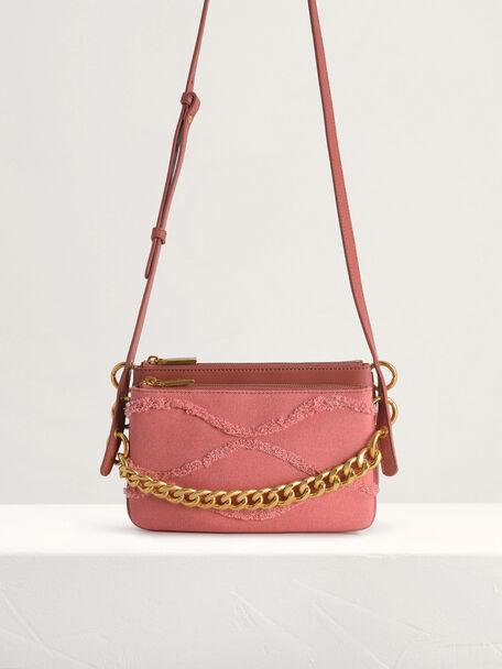Chain-embellished Mini Shoulder Bag, Walnut, hi-res